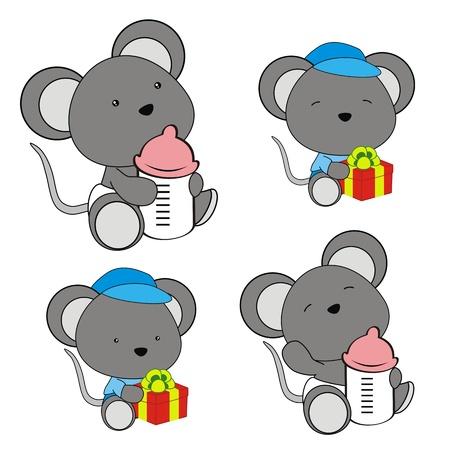 bimbo pannolino: bambino del mouse pannolino set cartone animato Vettoriali