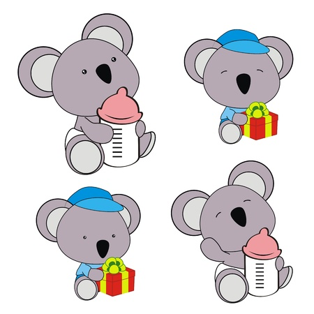 bimbo pannolino: koala pannolino del bambino insieme del fumetto