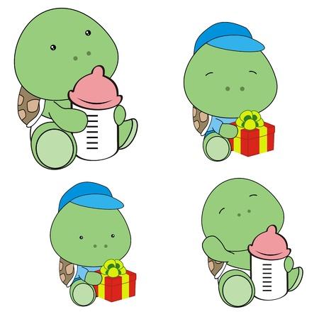 funny baby: turtle baby diaper cartoon set