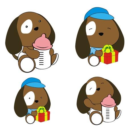 bimbo pannolino: cucciolo pannolino del bambino set fumetto Vettoriali