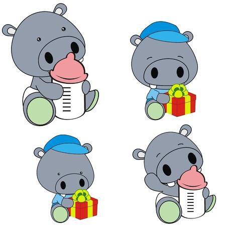 hippo baby diaper cartoon set Ilustracja