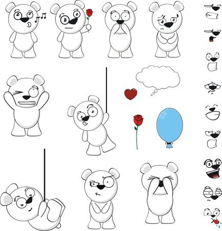 polar bear funny cartoon background in vector format