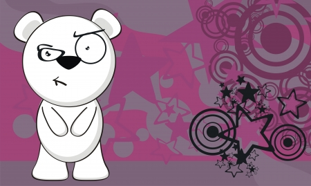 angry teddy: polar bear funny cartoon background in vector format