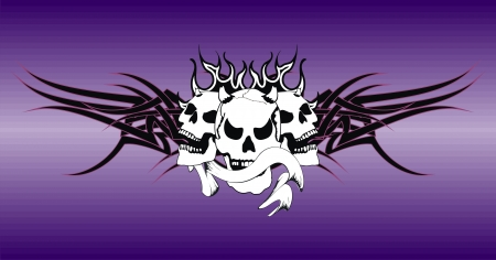 skull tribal tattoo vector background in vector format very easy to edit Vector