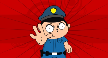 cop: policeman kid cartoon background in format very easy to edit Illustration