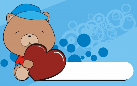 teddy bear baby cartoon love heart background in vector format Vector