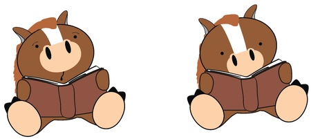 horse baby cartoon reading set in vector format