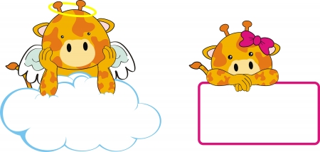 giraffe angel baby cartoon  Vector