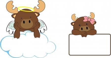 reindeer angel baby cartoon