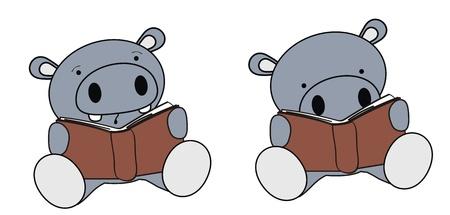 hippo baby cartoon reading set Vector