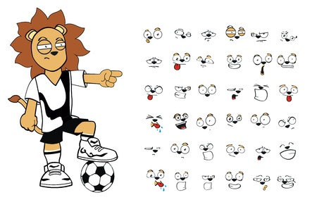 lion soccer kid cartoon set in vector format very easy to edit