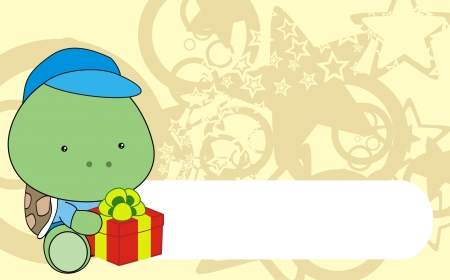 turtle baby cartoon gift box wallpaper   Vector