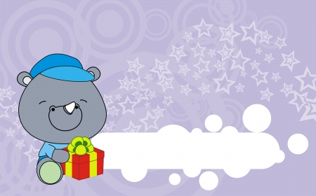 rhino baby cartoon gift box wallpaper  Vector