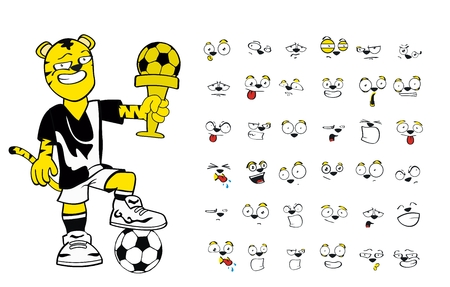 tiger kid soccer cartoon set  Vector