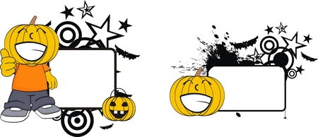 halloween pumpkin kid copyspace in vector format