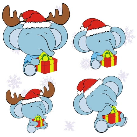 elephant xmas baby claus gift set   Vector