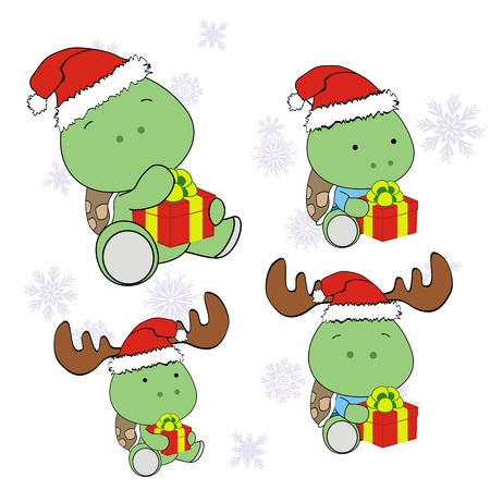 turtle xmas baby claus gift set  Vector