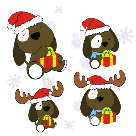 xmas baby: puppies xmas baby claus gift set  Illustration