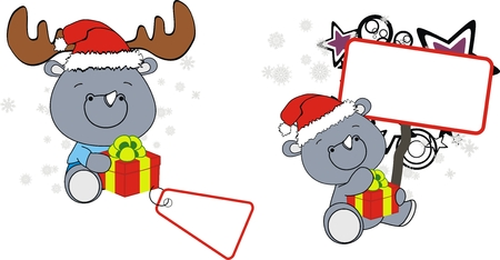 xmas baby: rhino xmas baby claus with gift  Illustration