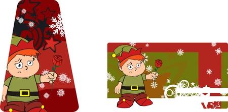 Weihnachten Kind Aufkleberkarten Standard-Bild - 24079409