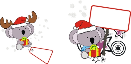 koala xmas baby claus with gift   Vector