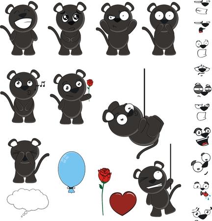 black cat cute set in vector format Illustration