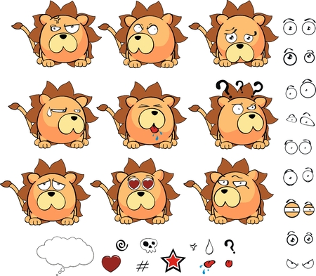 lion ball cartoon set in vector format Vector