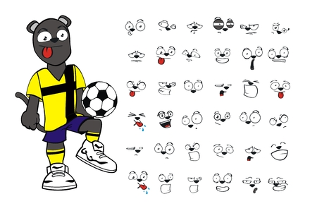 panther soccer cartoon set vector very easy to edit