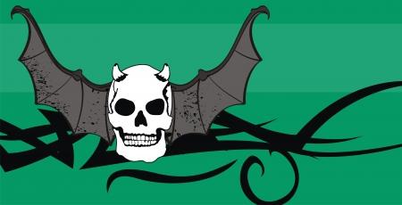 style: skull winged rocker style background  Illustration