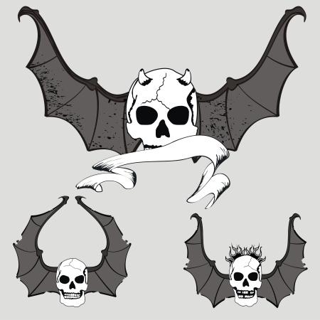 tatto: skull winged rocker style