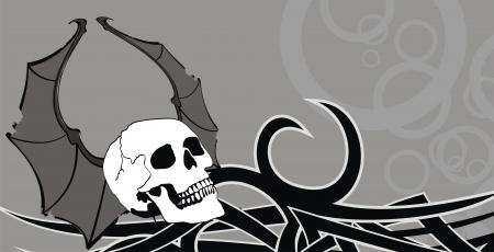 style: skull winged rocker style background