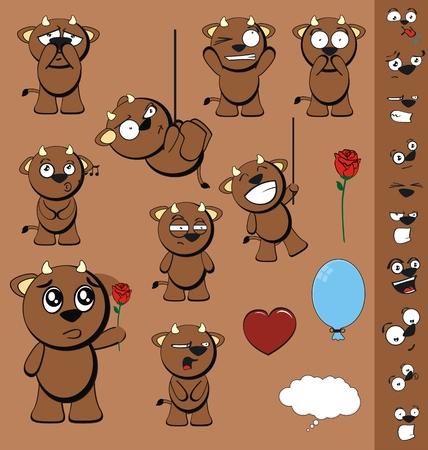 bull cartoon funny vector set in vector format