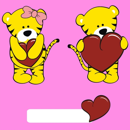 inlove: tiger valentine cartoon girl and boy set in vector format