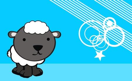 羊のかわいい赤ちゃん漫画背景ベクトル形式で