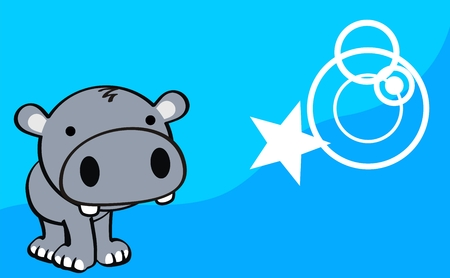 hippo cute baby cartoon background in vector format