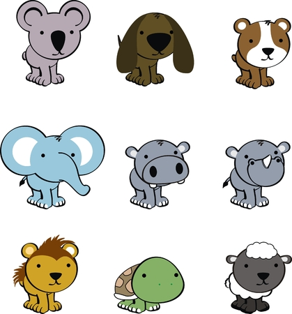 sweet baby animals cartoon cute vector set Illustration
