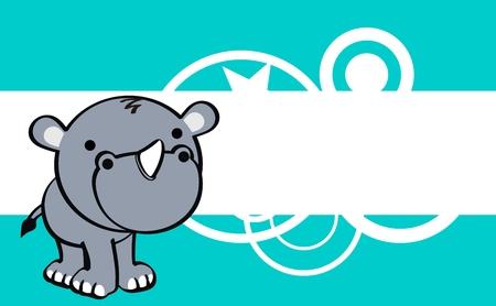 rhino cute baby cartoon background in vector format