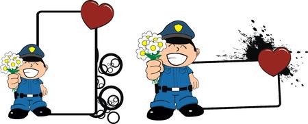 police kid cartoon copyspace