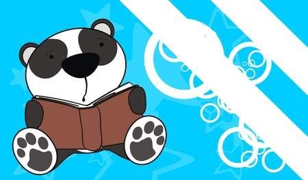 panda bear baby reading background  Vector