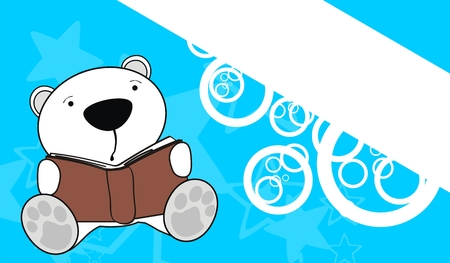polar bear baby reading background  Vector