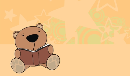 teddy bear baby reading background  Vector