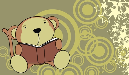monkey baby reading background  Vector