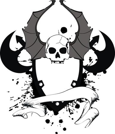 skull bat wings sticker tattoo Vector