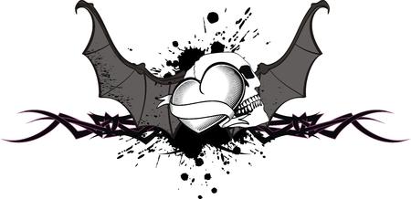 心の翼バット t シャツ タトゥー ベクター形式で