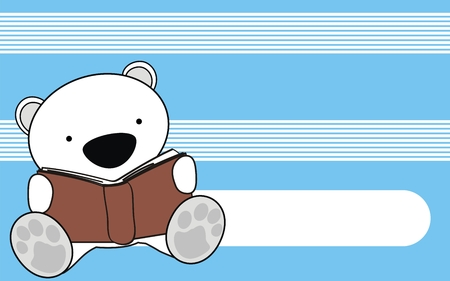 polar bear baby reading cartoon background in vector format Vector