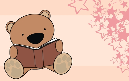 teddy bear baby reading cartoon background in vector format Vector