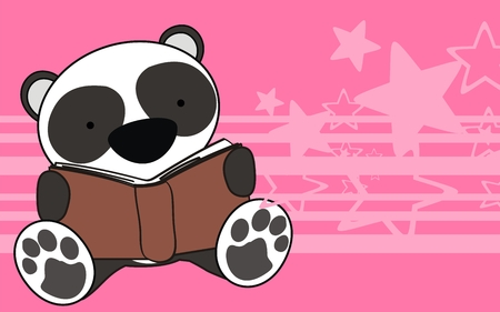school baby: panda bear baby reading cartoon background in vector format