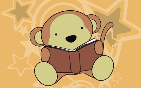 monkey baby reading cartoon background in vector format Vector