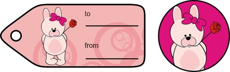 inlove: bunny cute girl love cartoon sticker in vector format