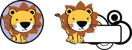 ベクトル形式のライオンかわいい赤ちゃん漫画ステッカー  イラスト・ベクター素材